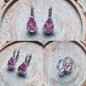 Jewelry - Silver Earrings with Purple Stones
